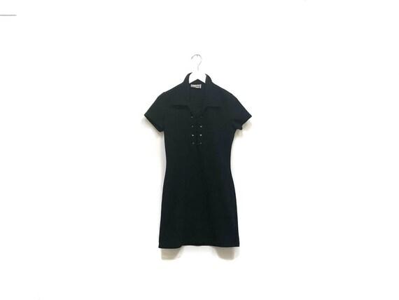 Vintage 90s Black Mini Dress / Witchy Goth Black L