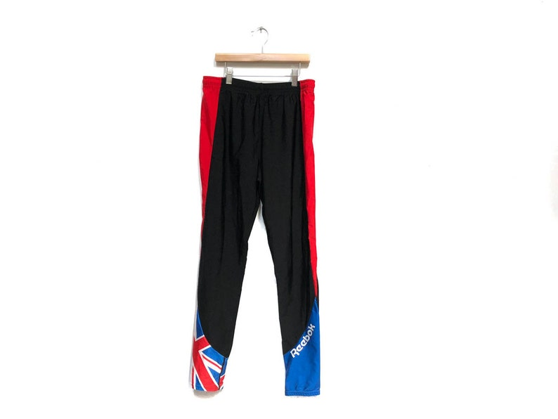 cbb3292de96b0 Vintage 80s Black Spandex Reebok Yoga Pants / British Flag Blue Red White  Side Stripe Spandex Leggings / 80s Work Out Running Jogging Pants