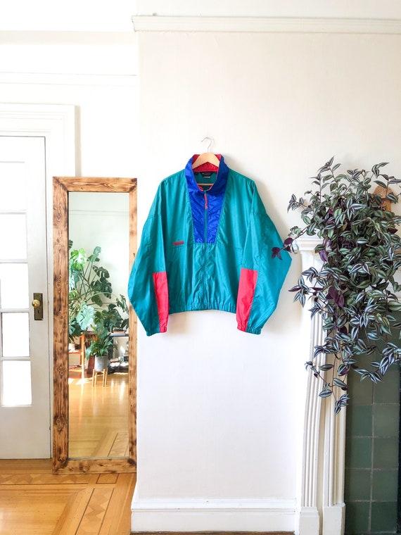 Vintage 90s Green Blue Red Color Blocked Windbrea… - image 9