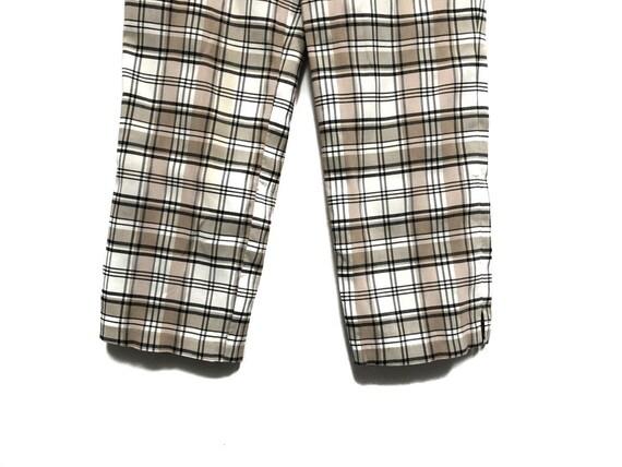 Vintage 80s Plaid Pants / Beige White Black Check… - image 4