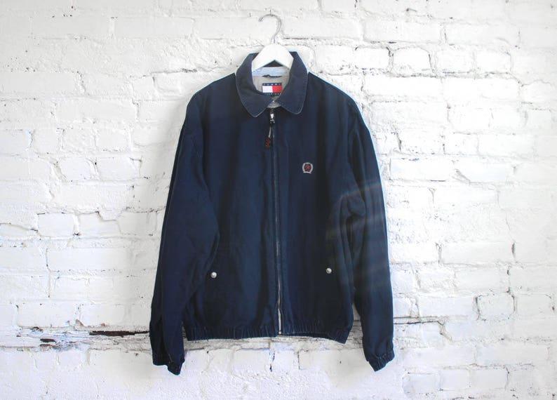 9554c0cd9 90s Tommy Hilfiger Light Jacket // Navy Cotton Zip Up Jacket | Etsy