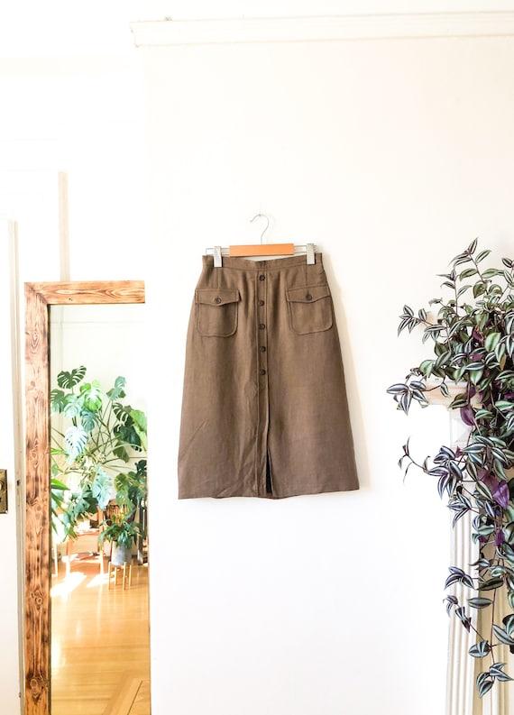 Vintage 60s Tan Button Front High Waist Skirt 26 /