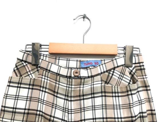 Vintage 80s Plaid Pants / Beige White Black Check… - image 5
