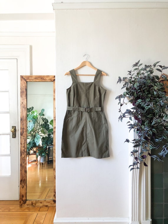 Vintage 90s Army Green Cotton Belted Sleeveless Pi