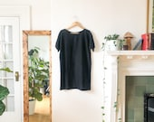 Vintage 90s Black Linen Tunic Simple Minimalist Black Linen Dress Blouse Top S
