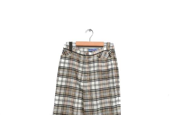 Vintage 80s Plaid Pants / Beige White Black Check… - image 3