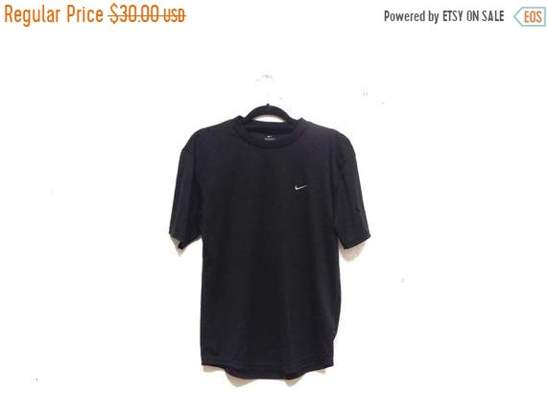d4828db23f78f Vintage 90s Nike Black Dri Fit Shirt / Drifit Nike Health Goth Active Top /  Short Sleeve Crewneck Nike Emblem Tennis Golf Track Work Out Top