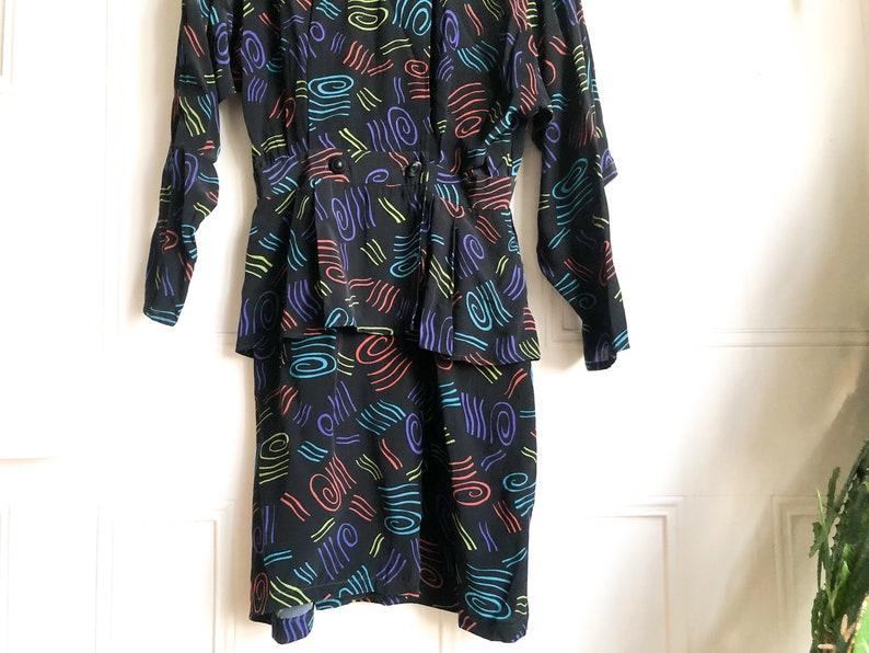 Vintage 80s Black Peplum Long Sleeve Belted Dress