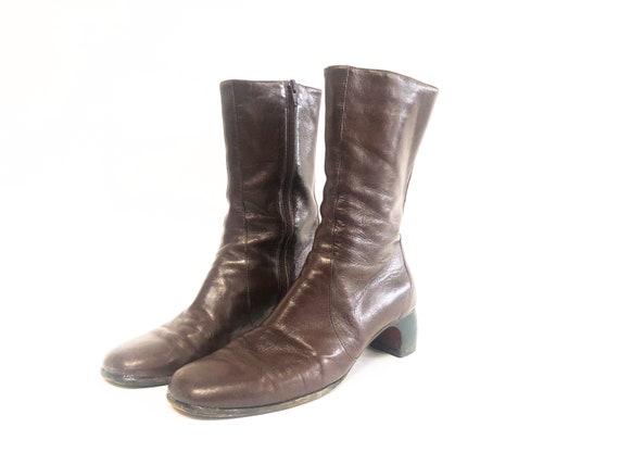 Vintage 90s Chestnut Dark Brown Mod Ankle Boots 8
