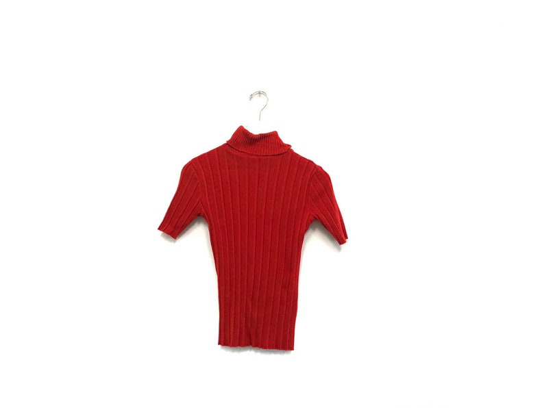1d4520f54f893 Vintage 70s Fitted Turtle Neck   Retro Textured Nylon Ribbed