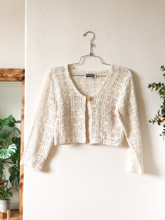 Vintage 90s Creamy White Cut Out Lacey See Thru C… - image 2
