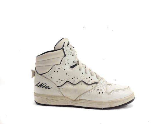 80s Vintage Womens White High Top Sneakers White Leather Hi Top Sneakers Rave Club Kid Sneakers Athletic Sports Tennis Shoes 7