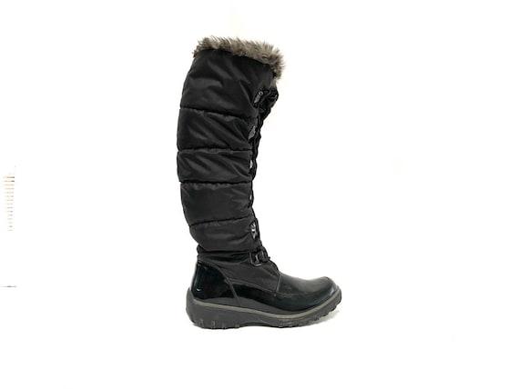 Vintage 90s Black Nylon Lined Winter Boot / Knee H