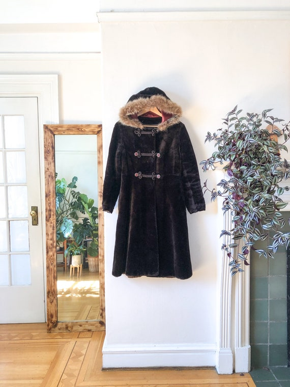 Vintage 1960s Long Faux Fur Hooded Jacket / 60s Ho
