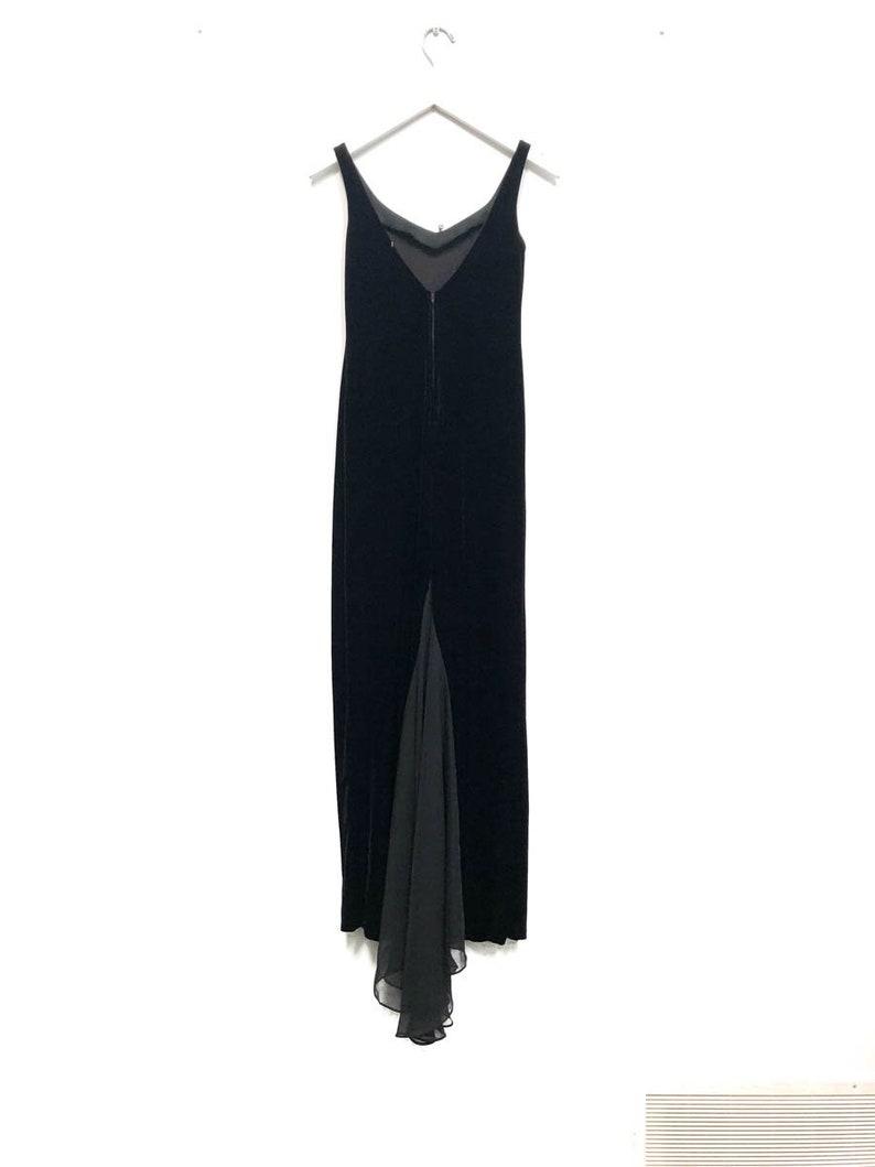 Vintage 90s Maxi Long Black Velvet Trailing Dress  Sleeveless Spaghetti Strap Bridesmaid Dress  Fitted Elegant Cocktail Gown  Goth Dress