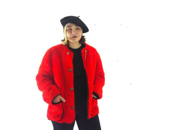 19a200aad5643 70s Vintage Red Faux Fur Coat / Black Trim Red Fur Jacket / Red Winter  Jacket / 80s Glam Fur Coat / Retro Club Kid Jacket / French Coat L