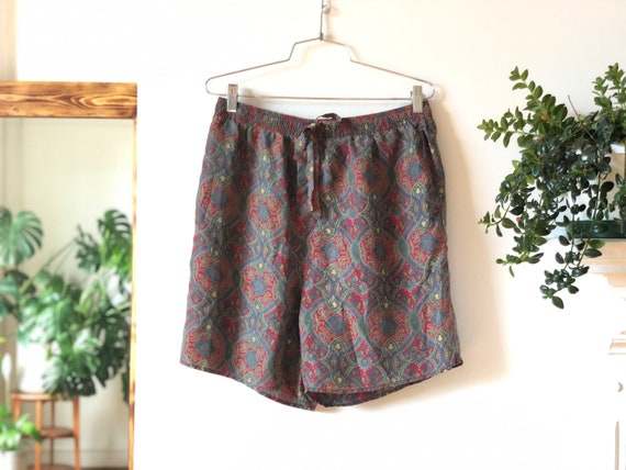 Vintage 90s Silk Paisley Print Shorts / All Over P