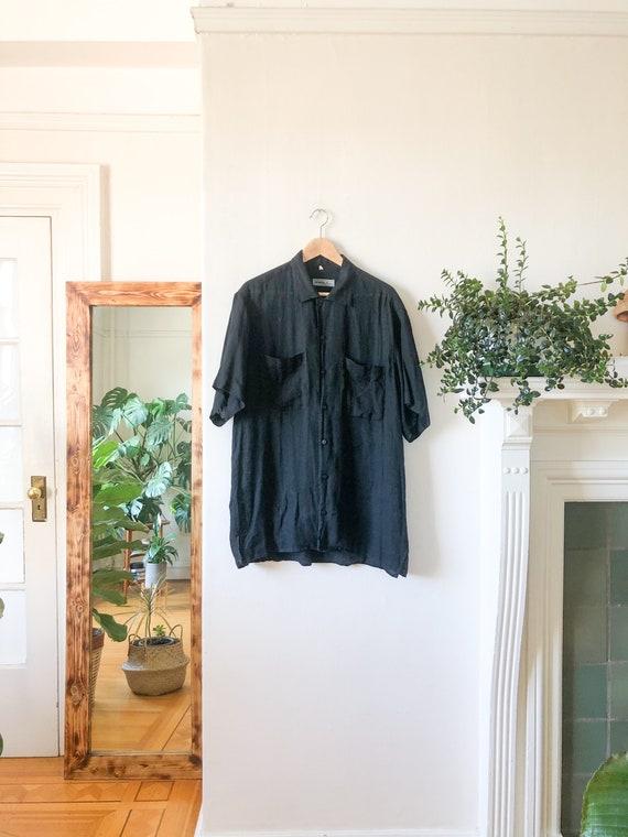 Vintage 90s Black Linen Button Up Short Sleeve Col