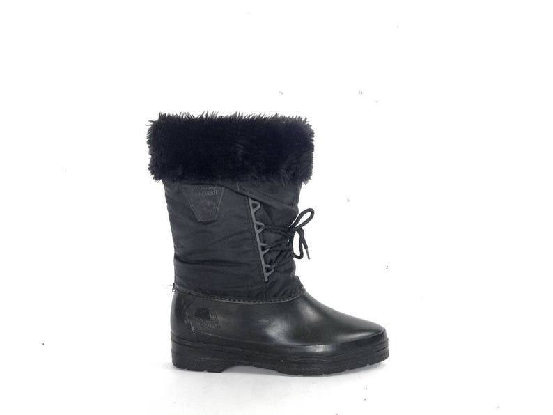 9501d0654030b 80s Vintage Winter Boots / Womens Vegan Faux Fur Boots / Pointy Toe Black  Winter Boots / Waterproof Warm Winter Boots / Furry Black Boots 8