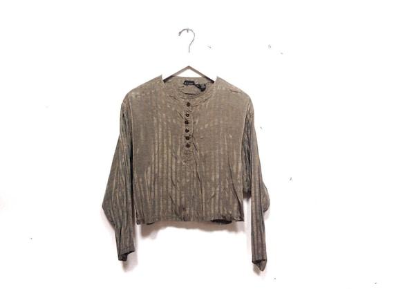 Vintage 80s Metallic Striped Blouse / Vertical Str