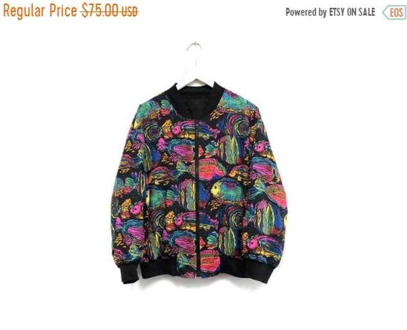 7a94bbba4dc9 Vintage 90s Rainbow Fish All Over Print Track Jacket   80s
