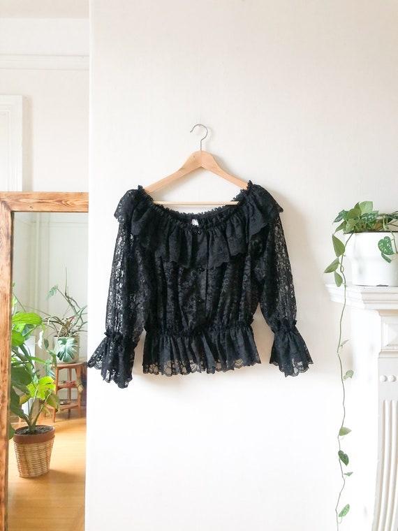 NWT Vintage 80/'s Cottagecore Black Lace Button-Up Blouse