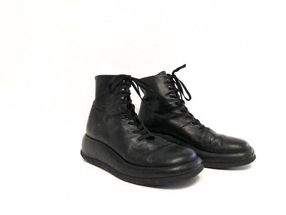 Vintage 80s Black Leather Platform Sneakers / Blac