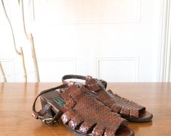 Vintage 80s Brown Woven Leather Cole Haan Gladiator Sling Back Sandals 8