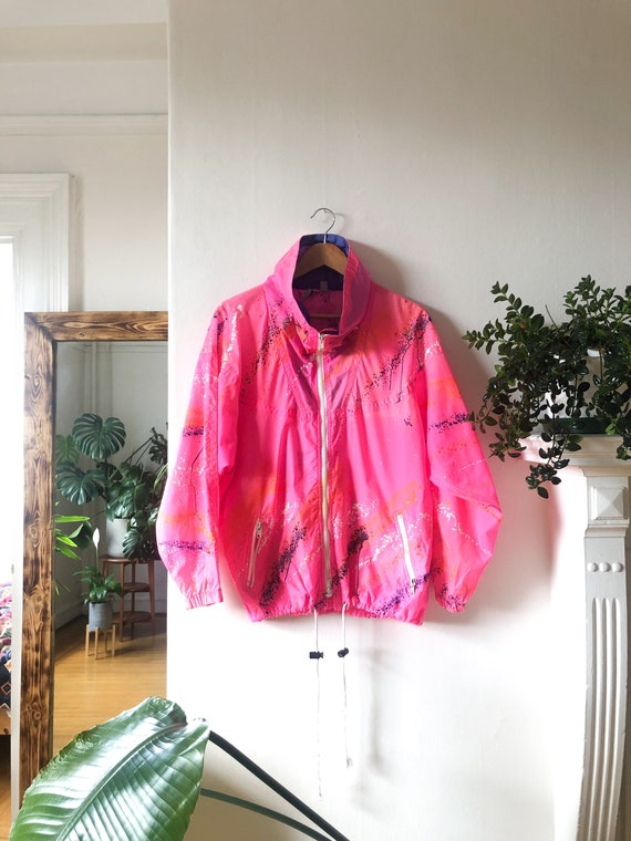 Vintage 80s Neon Hot Pink Waterproof Windbreaker /