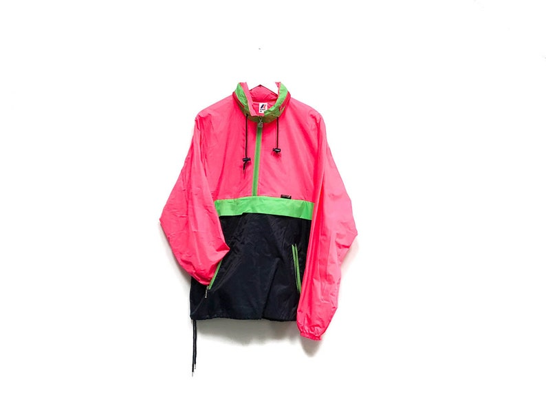 af0e776ccbb Vintage 80s Neon Track Jacket   KWAY Hooded Outdoor Camping