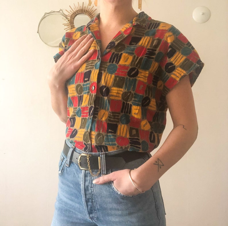 Vintage 80s Koret Geometric Art Pattern Primary Color Rainbow Button Up Collared Shirt S