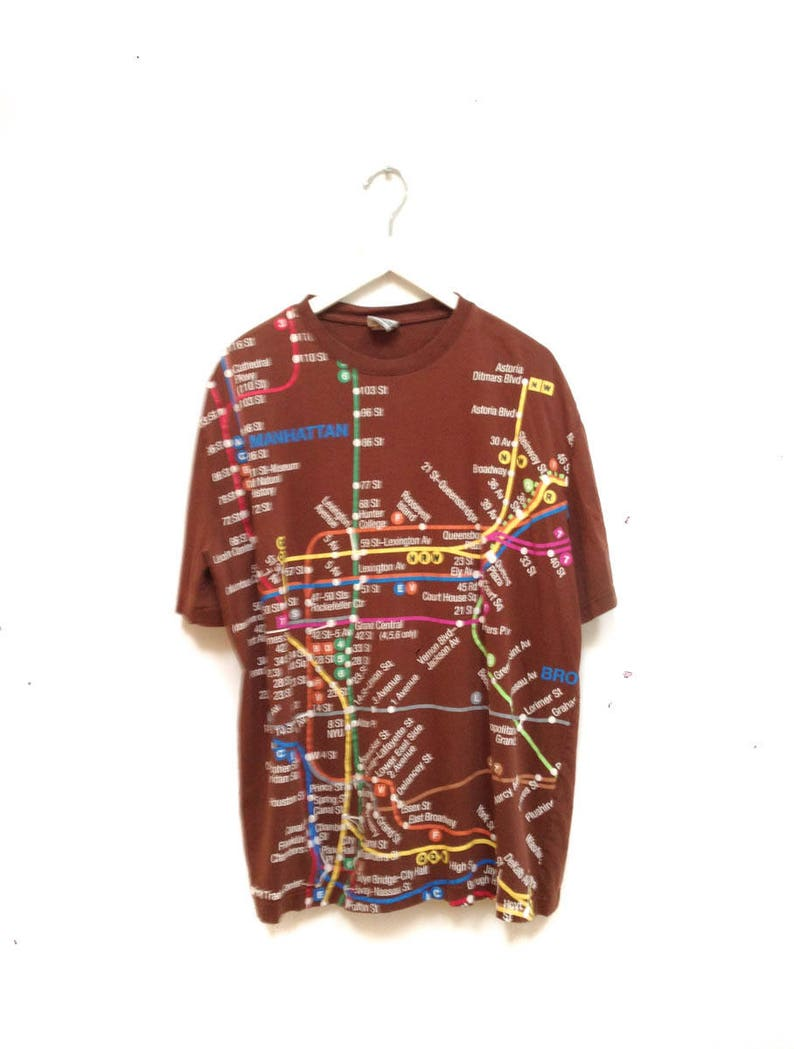 Nyc Subway Map Tshirt.Vintage 90s Manhattan Ny Map T Shirt Ny Subway Tee Etsy