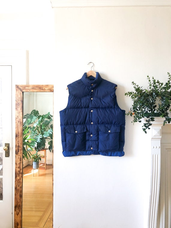 Vintage 80s Blue Down Quilted Reversible Puffer Ve
