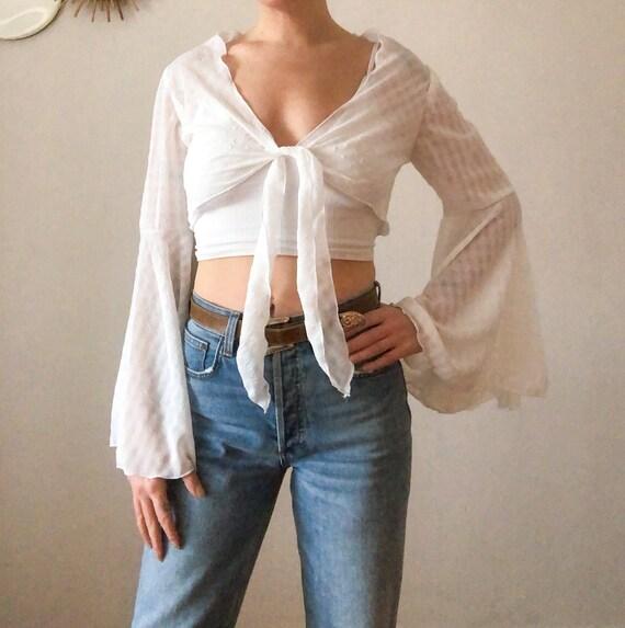 Vintage 60s White Flutter Sleeve Gypsy Boho Blous… - image 2