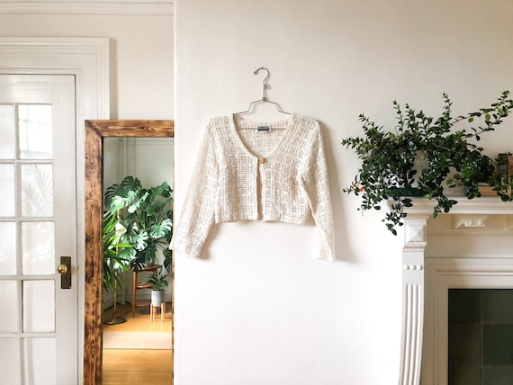 Vintage 90s Creamy White Cut Out Lacey See Thru C… - image 1