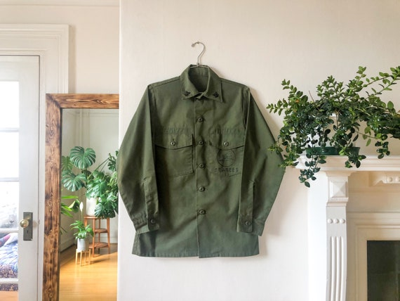 Vintage 70s Army Green Military War Cargo Jacket