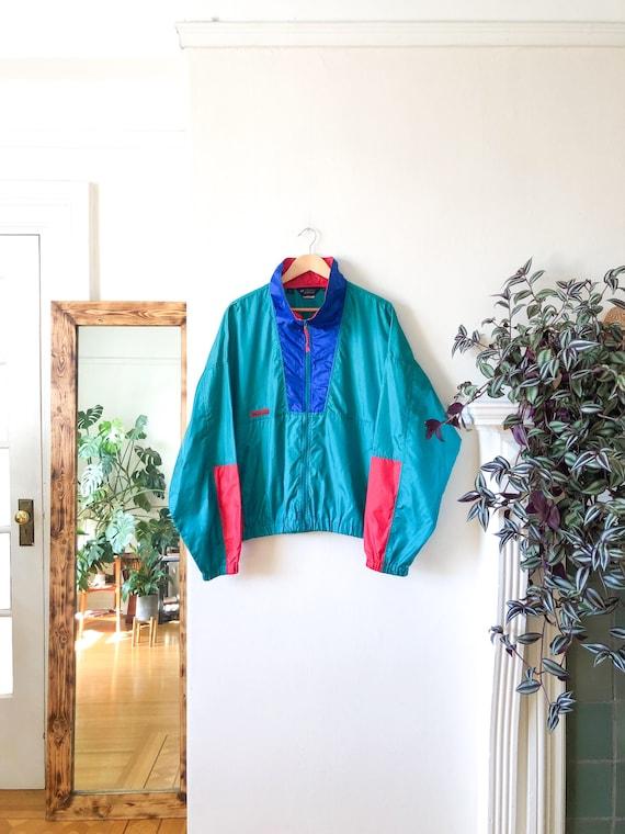 Vintage 90s Green Blue Red Color Blocked Windbrea… - image 5