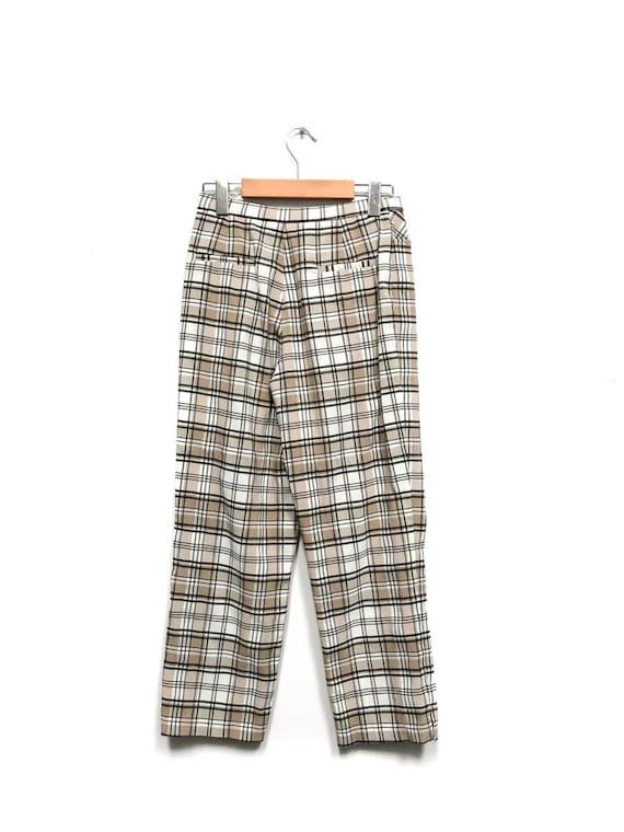 Vintage 80s Plaid Pants / Beige White Black Check… - image 2