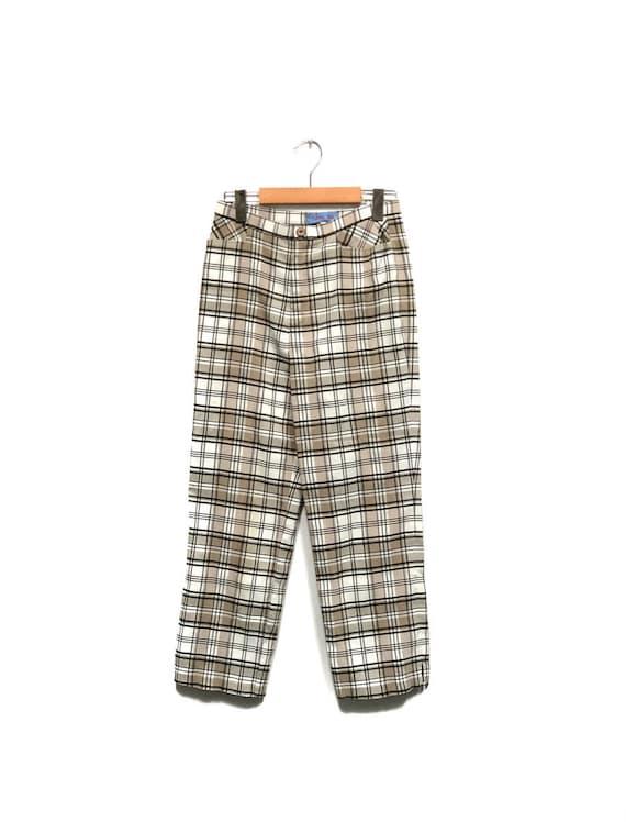 Vintage 80s Plaid Pants / Beige White Black Check… - image 1