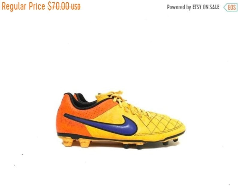 60f0f3196 Vintage 90s Nike Soccer Cleats   Bright Colorful Yellow Orange