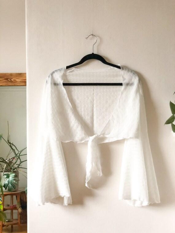 Vintage 60s White Flutter Sleeve Gypsy Boho Blous… - image 8