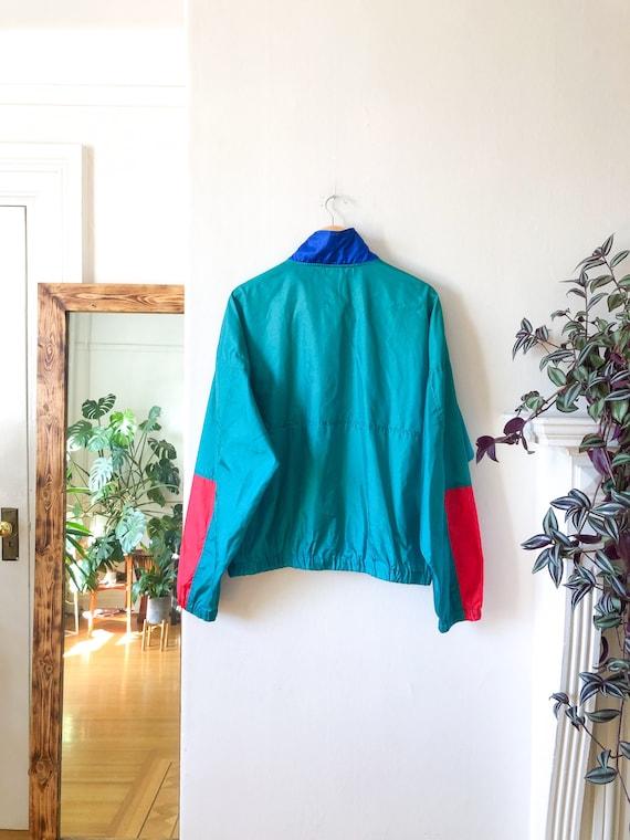 Vintage 90s Green Blue Red Color Blocked Windbrea… - image 6