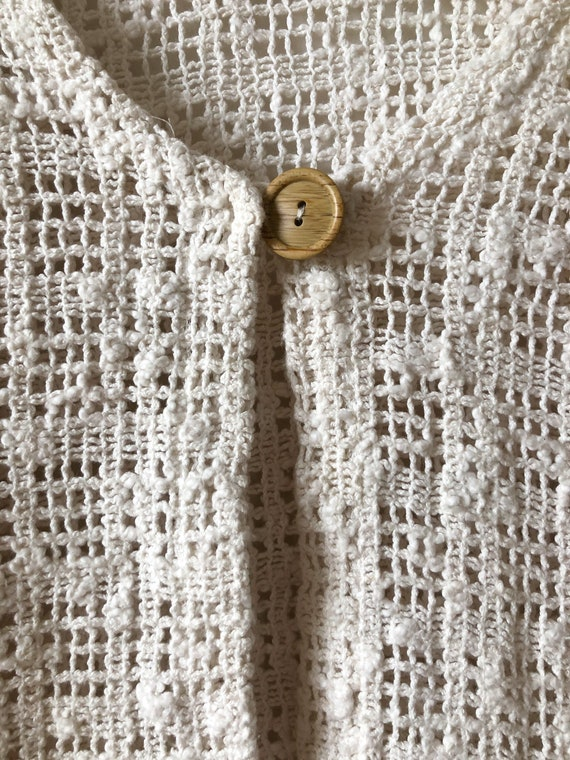 Vintage 90s Creamy White Cut Out Lacey See Thru C… - image 6