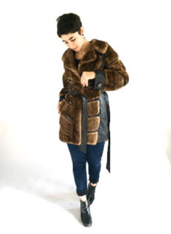 Vintage 70s Brown Fur Coat / Leather and Fur Brown
