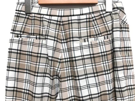 Vintage 80s Plaid Pants / Beige White Black Check… - image 7