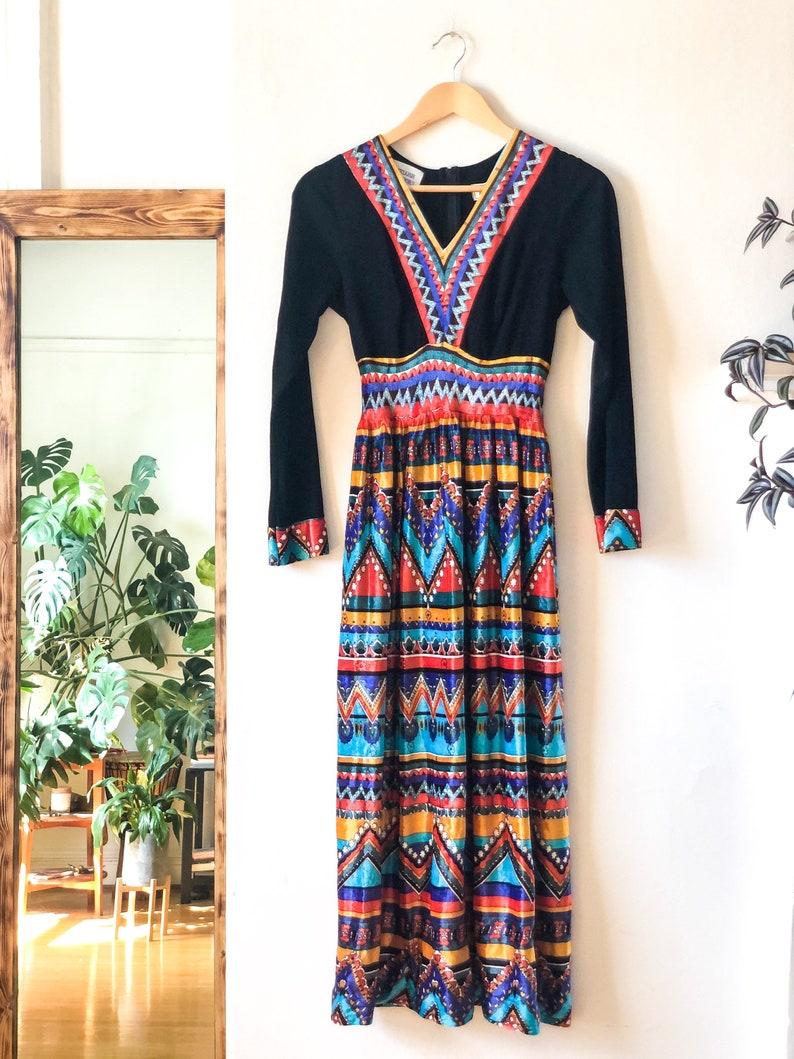 Vintage 60s Empire Waist Long Sleeve Full Skirt Velvet Floor Length Hippie Maxi Dress XS