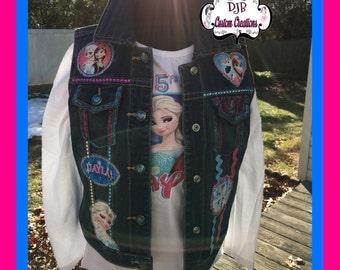 4d86833c81bf Custom Frozen Denim jean Vest Matching Frozen Converse Not