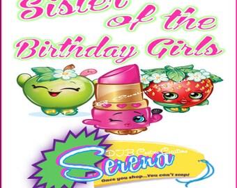 Shopkins Birthday Shirt, Shopkins Personalized Birthday Shirt, Girl's Birthday Shirt, Sister of the birthday girl Shopkin theme