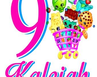 Shopkins Birthday Shirt, Shopkins Personalized Birthday Shirt, Girl's Birthday Shirt,