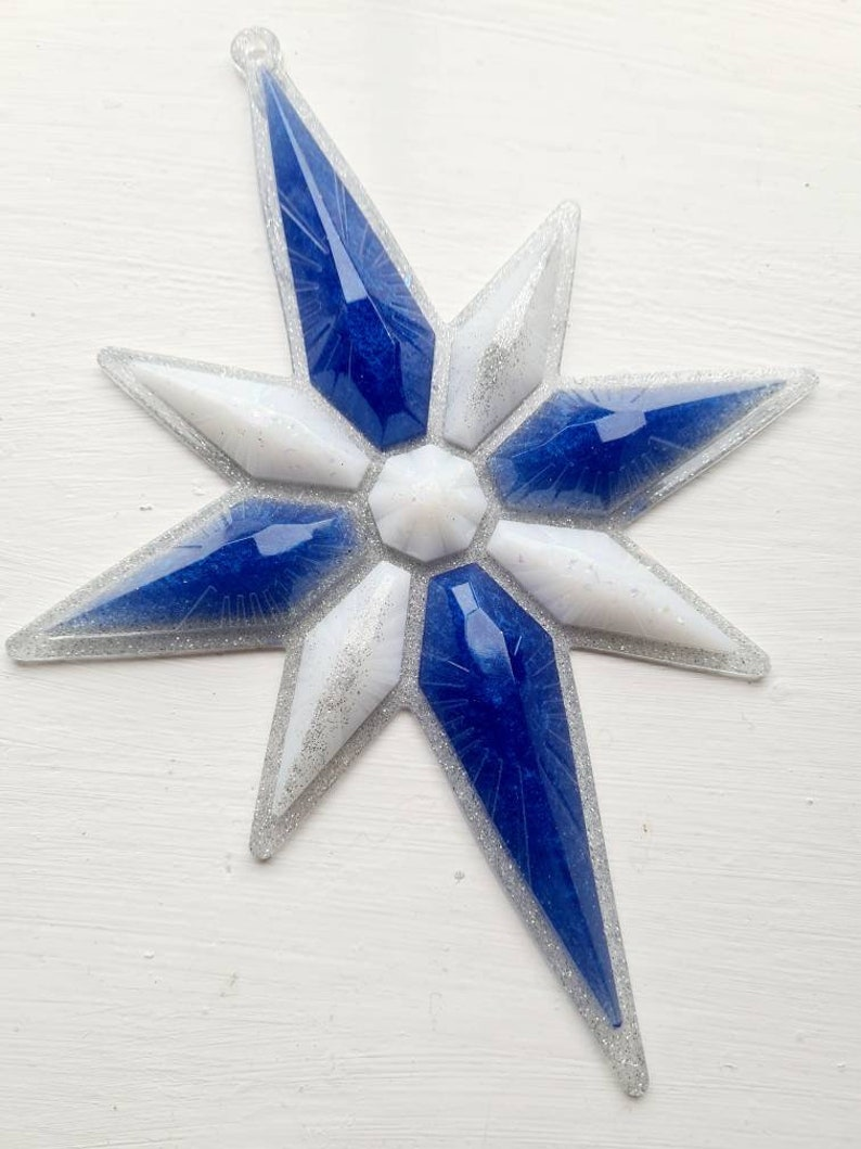 Large resin star decoration blue white silver glitter Christmas hanging xmas ornament holiday shimmer ribbon chunky home unique